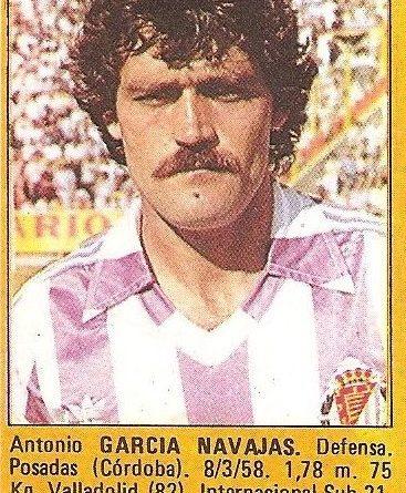 Super Fútbol 85. García Navajas (Real Valladolid). Super Cromos Rollán.