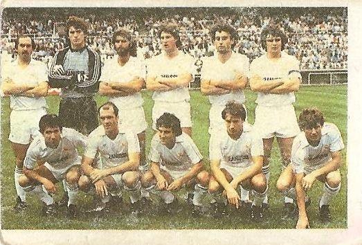Fútbol 84. Alineación Real Madrid (Real Madrid). Cromos Cano.