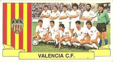 Liga 85-86. Alineación Valencia C.F. (Valencia C.F.). Ediciones Este.