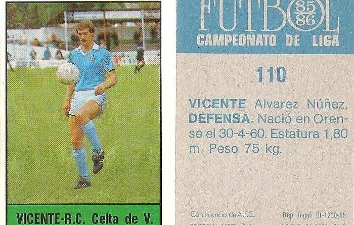 Fútbol 85-86. Campeonato de Liga. Vicente (Real Club Celta de Vigo). Editorial Lisel.