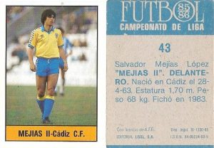 Fútbol 85-86. Campeonato de Liga. Mejías II (Cádiz C.F.). Editorial Lisel.