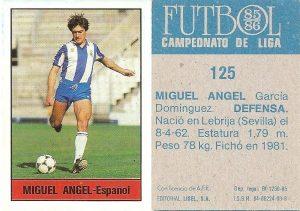 Fútbol 85-86. Campeonato de Liga. Miguel Ángel (R.C.D. Español). Editorial Lisel.