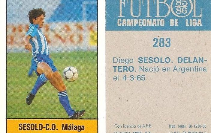 Fútbol 85-86. Campeonato de Liga. Sessolo (C.D. Málaga). Editorial Lisel.