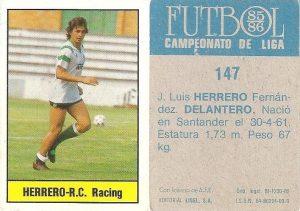 Fútbol 85-86. Campeonato de Liga. Herrero (Racing de Santander). Editorial Lisel.