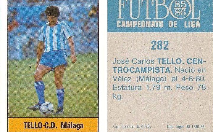 Fútbol 85-86. Campeonato de Liga. Tello (C.D. Málaga). Editorial Lisel.