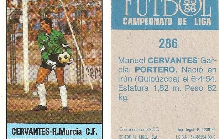 Fútbol 85-86. Campeonato de Liga. Cervantes (Real Murcia). Editorial Lisel.