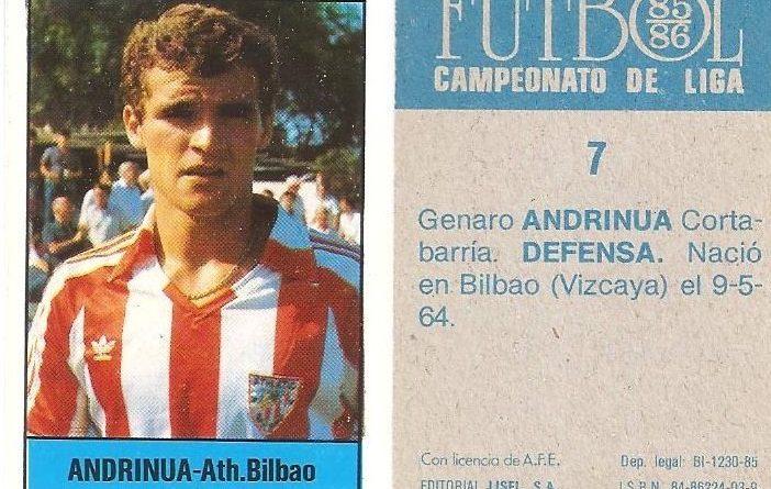 Fútbol 85-86. Campeonato de Liga. Andrinua (Ath. Bilbao). Editorial Lisel.