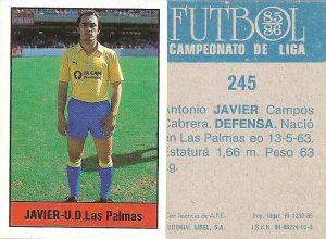 Fútbol 85-86. Campeonato de Liga. Javier (U.D. Las Palmas). Editorial Lisel.