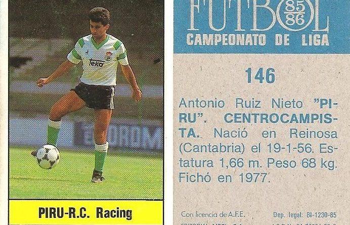 Fútbol 85-86. Campeonato de Liga. Piru (Racing de Santander). Editorial Lisel.