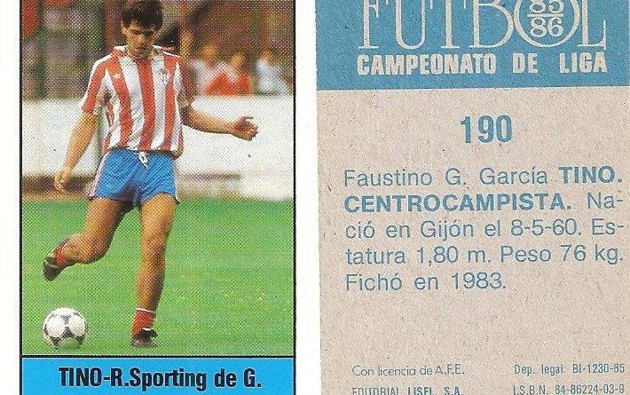 Fútbol 85-86. Campeonato de Liga. Tino (Real Sporting de Gijón). Editorial Lisel.