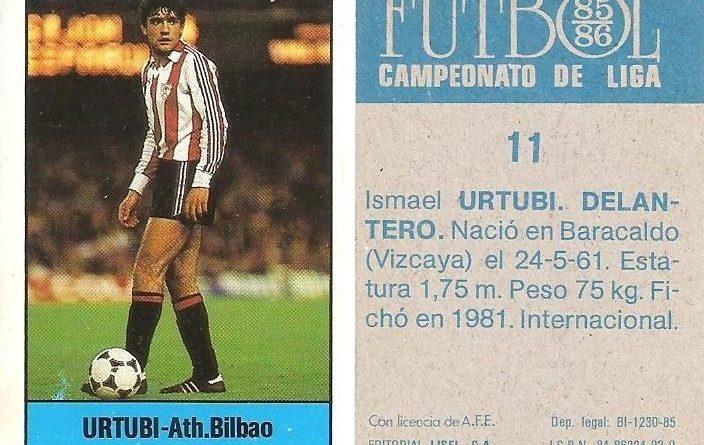 Fútbol 85-86. Campeonato de Liga. Urtubi (Ath. Bilbao). Editorial Lisel.