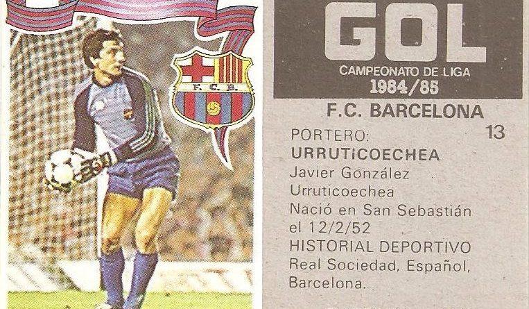 Gol. Campeonato de Liga 1984-85. Urruticoechea (F.C. Barcelona). Editorial Maga.