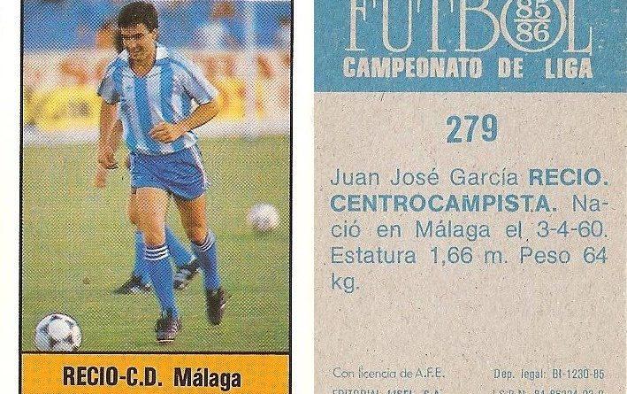 Fútbol 85-86. Campeonato de Liga. Recio (C.D. Málaga). Editorial Lisel.