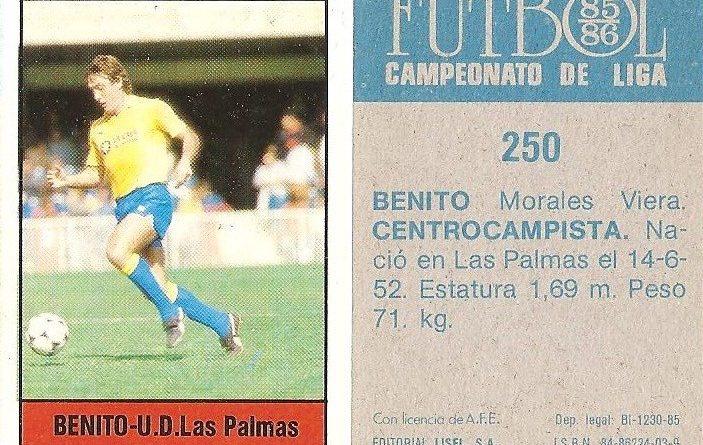Fútbol 85-86. Campeonato de Liga. Benito (U.D. Las Palmas). Editorial Lisel.