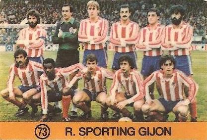 1983-84 Super Campeones. Alineación Real Sporting de Gijón (Real Sporting de Gijón). (Ediciones Gol).