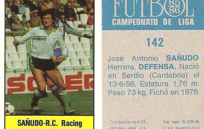 Fútbol 85-86. Campeonato de Liga. Sañudo (Racing de Santander). Editorial Lisel.