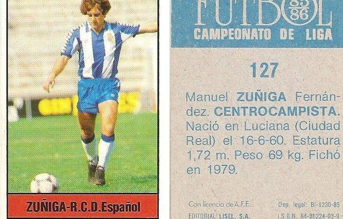 Fútbol 85-86. Campeonato de Liga. Zuñiga (R.C.D. Español). Editorial Lisel.
