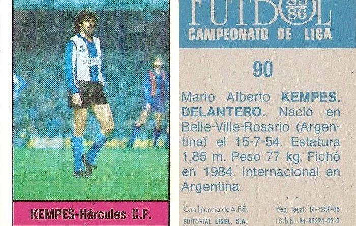 Fútbol 85-86. Campeonato de Liga. Kempes (Hércules C.F.). Editorial Lisel.