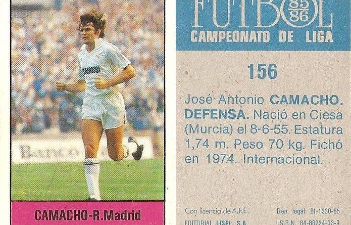 Fútbol 85-86. Campeonato de Liga. Camacho (Real Madrid). Editorial Lisel.