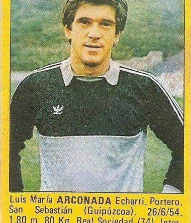 Super Fútbol 85. Arconada (Real Sociedad). Super Cromos Rollán.