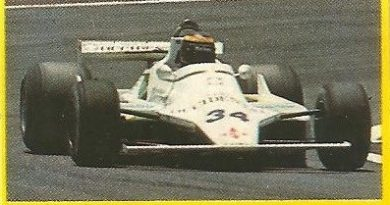 Grand Prix Ford 1982. Emilio de Villota (Williams). (Editorial Danone).