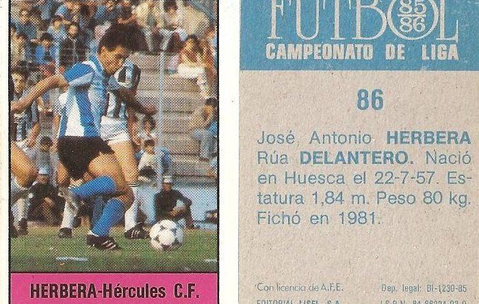 Fútbol 85-86. Campeonato de Liga. Herbera (Hércules C.F.). Editorial Lisel.