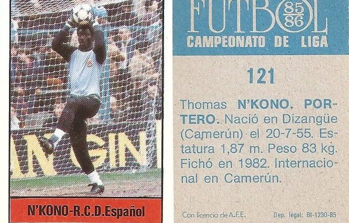 Fútbol 85-86. Campeonato de Liga. N´Kono (R.C.D. Español). Editorial Lisel.