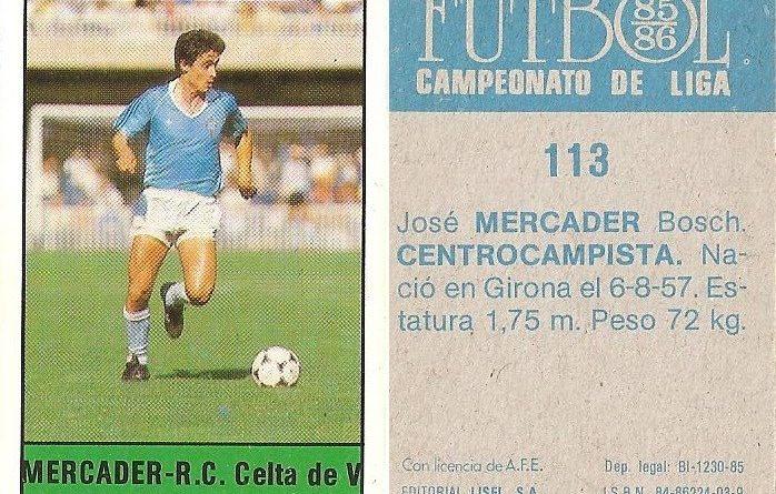 Fútbol 85-86. Campeonato de Liga. Mercader (Real Club Celta de Vigo). Editorial Lisel.
