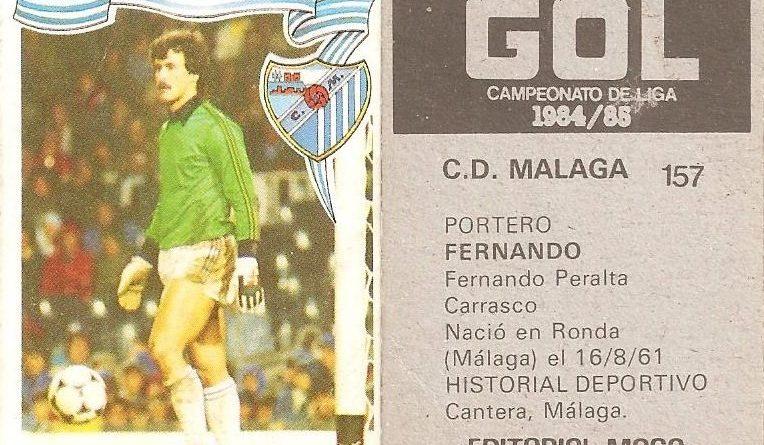 Gol. Campeonato de Liga 1984-85. Fernando (C.D. Málaga). Editorial Maga.