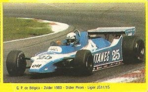 Grand Prix Ford 1982. Didier Pironi (Ligier). Editorial Danone.