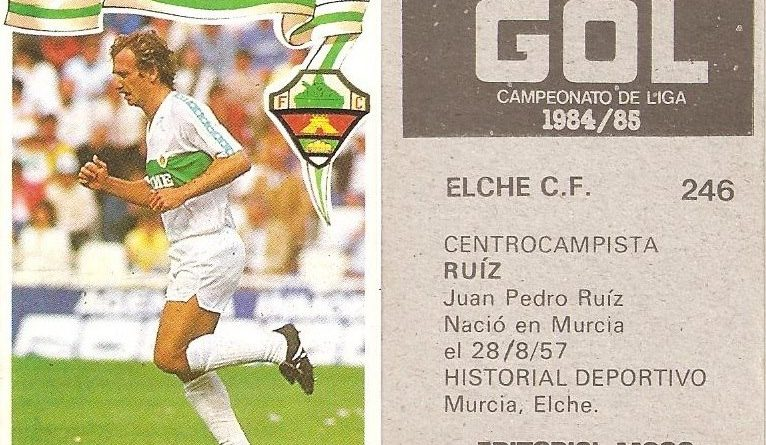 Gol. Campeonato de Liga 1984-85. Ruiz (Elche C.F.). Editorial Maga.