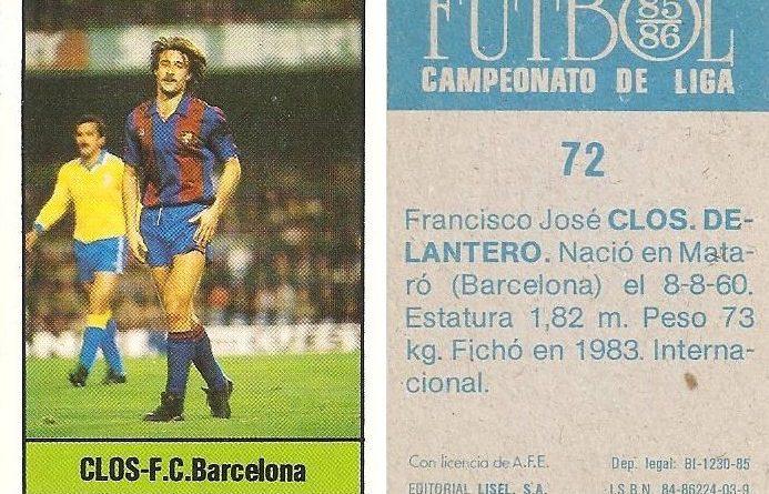 Fútbol 85-86. Campeonato de Liga. Clos (F.C. Barcelona). Editorial Lisel.