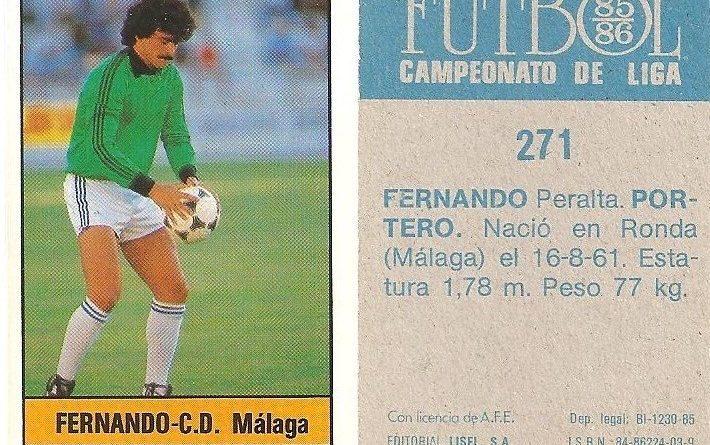 Fútbol 85-86. Campeonato de Liga. Fernando (C.D. Málaga). Editorial Lisel.