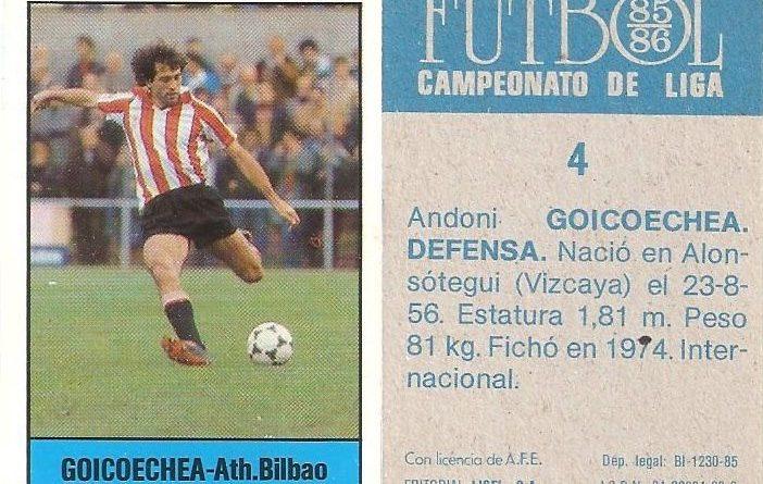 Fútbol 85-86. Campeonato de Liga. Goicoechea (Ath. Bilbao). Editorial Lisel.