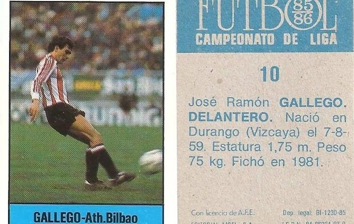 Fútbol 85-86. Campeonato de Liga. Gallego (Ath. Bilbao). Editorial Lisel.