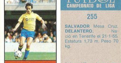 Fútbol 85-86. Campeonato de Liga. Salvador (U.D. Las Palmas). Editorial Lisel