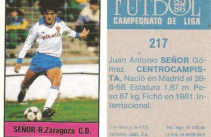 Fútbol 85-86. Campeonato de Liga. Señor (Real Zaragoza). Editorial Lisel.