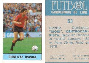 Fútbol 85-86. Campeonato de Liga. Dioni (C.A. Osasuna). Editorial Lisel.