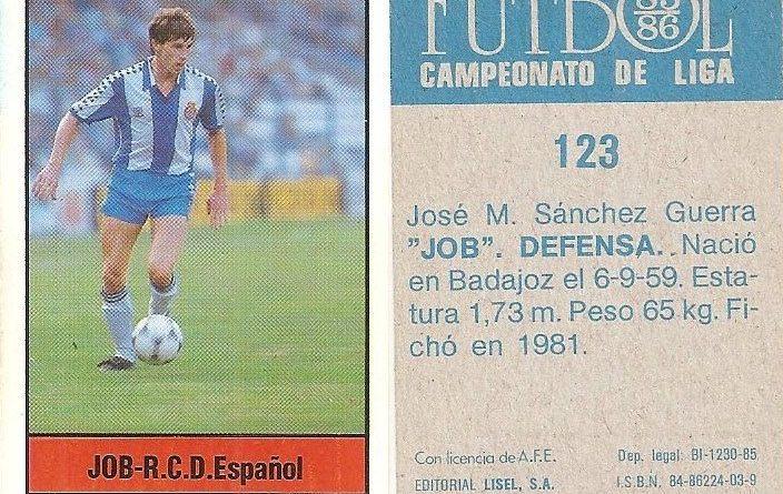 Fútbol 85-86. Campeonato de Liga. Job (R.C.D. Español). Editorial Lisel.