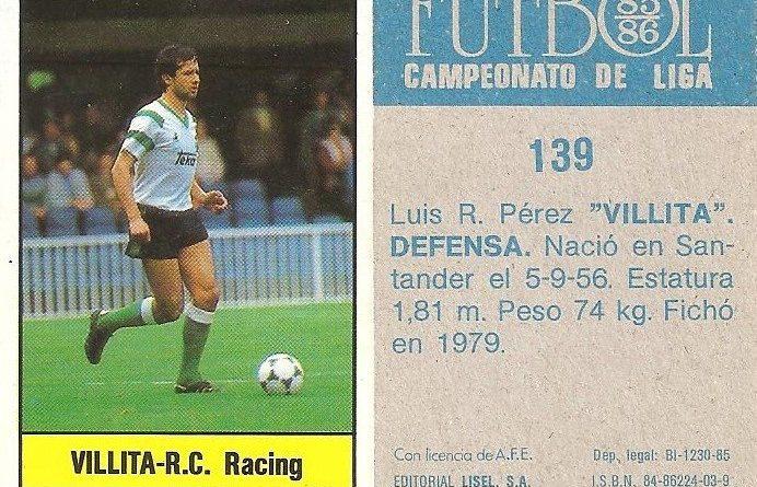 Fútbol 85-86. Campeonato de Liga. Villita (Racing de Santander). Editorial Lisel.