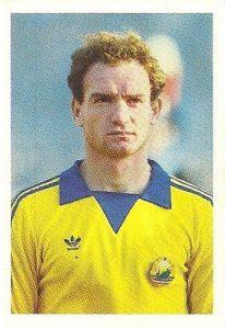Eurocopa 1984. Ungureanu (Rumanía) Editorial Fans Colección.