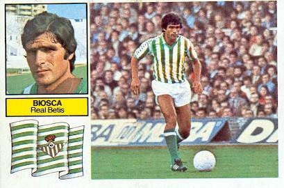 Liga 82-83. Biosca (Real Betis). Ediciones Este. 📸 Grupo de Facebook Nuestros álbumes de cromos.