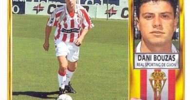 Liga 95-96. Dani Bouzas (Sporting de Gijón). Ediciones Este. 📸: Grupo de Facebook Nuestros álbumnes de cromos.