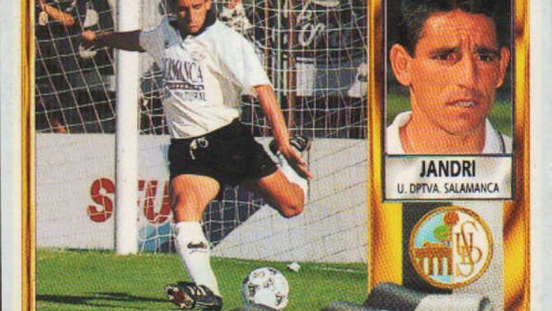 Liga 95-96. Jandri (UD Salamanca). Ediciones Este. 📸 Grupo de Facebook Nuestros álbumes de cromos