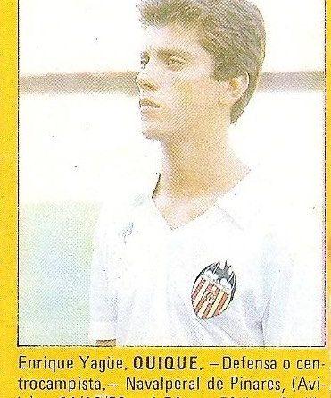 Super Fútbol 85. Quique (Valencia C.F.). Super Cromos Rollán.