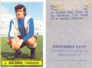 Liga 1974-75. José Antonio (Hércules C.F.) Ediciones Este. 📸: Grupo de Facebook Nuestros álbumes de cromos.
