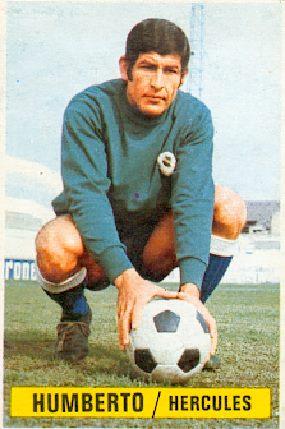Campeonato de Liga 1974-75. Humberto (Hércules CF). Ediciones Este y Chicles Sanber. 📸: Grupo de Facebook Nuestros álbumes de cromos.