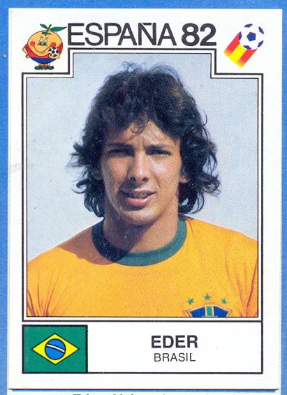 España 82 World Cup Eder (Brasil) Ediciones Panini. 📸: Grupo de Facebook Nuestros álbumes de cromos.
