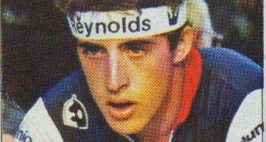 1983. Vuelta Ciclista - Ases Internacionales del Pedal. Pedro Delgado (Reynolds). (Editorial J. Merchante - Chocolates Hueso). 📸: Grupo de Facebook Nuestros álbumes de cromos.