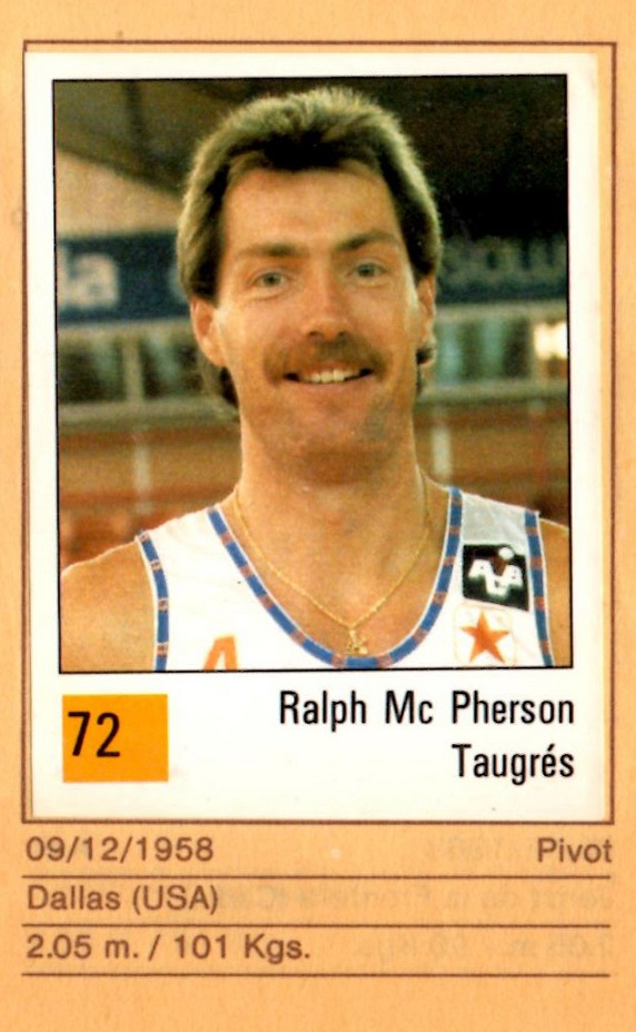 Basket 90 ACB. Nº 72. Ralph McPherson (Taugrés). Ediciones Panini. 📸: Nuestros álbumes de cromos.